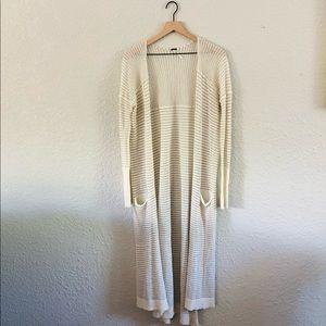 Free People Light Knit Cream Striped Duster